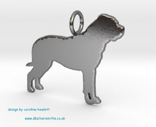 Bullmastiff charm solid sterling silver Handmade in the Uk